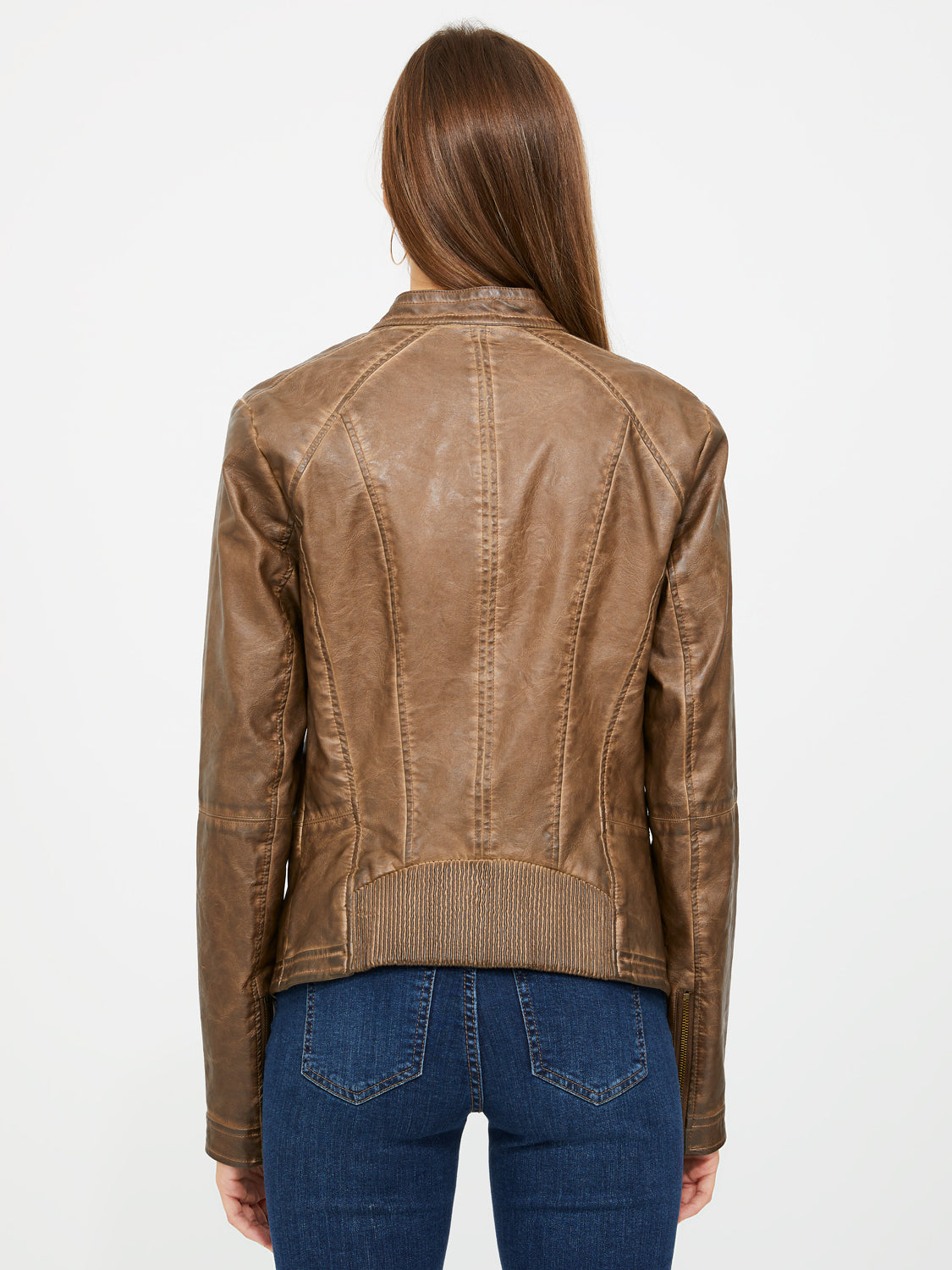 Faux Leather Jacket With Smocked Details
