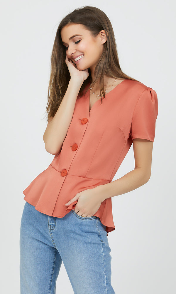 Satin Peplum Button-Down Blouse