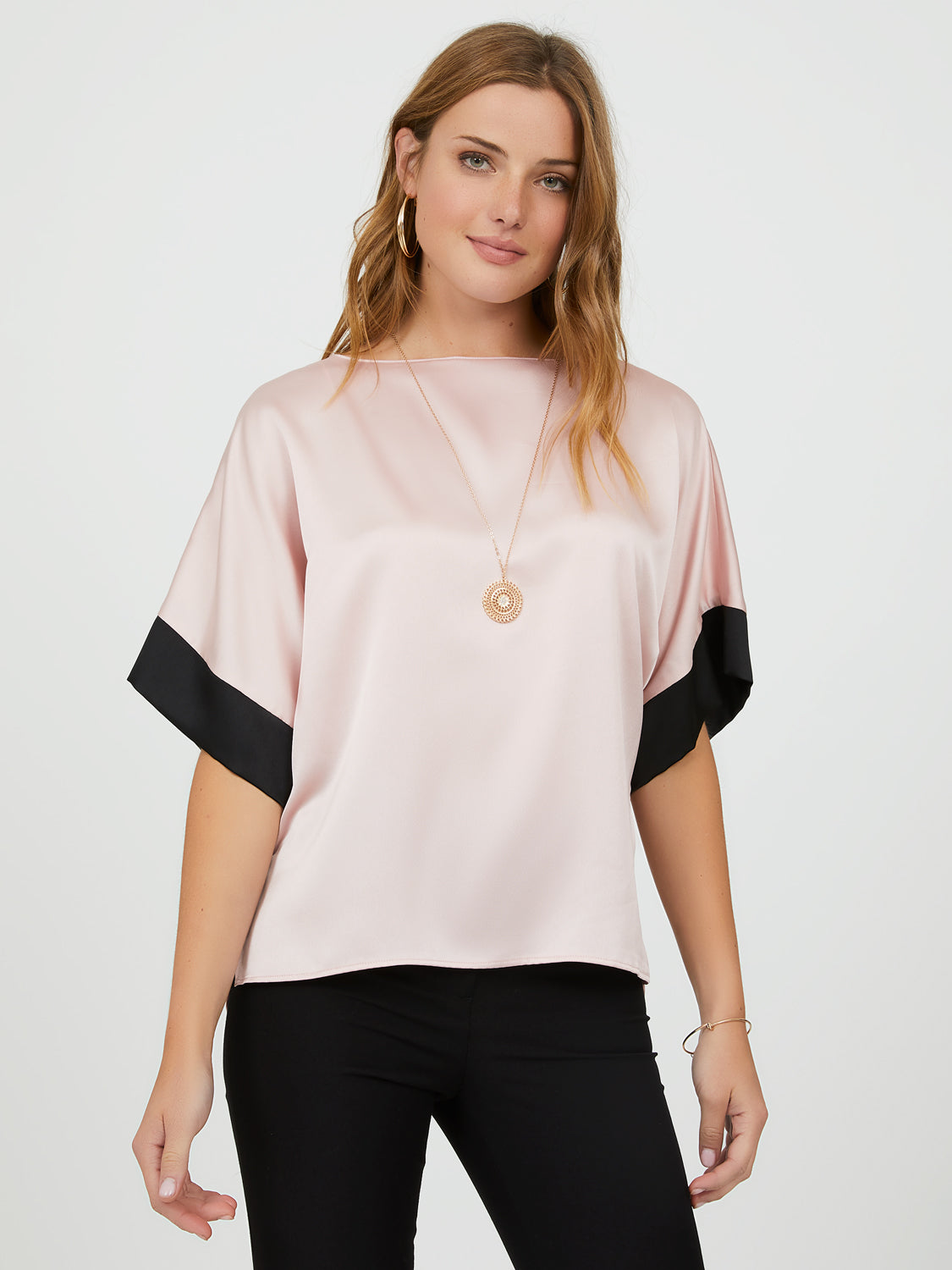 Contrast Band Satin Tee