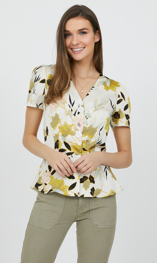 Floral Satin Peplum Button-Down Blouse