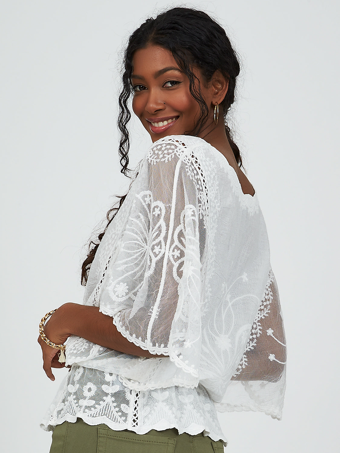 Batwing Sleeve Embroidered Crochet & Lace Top