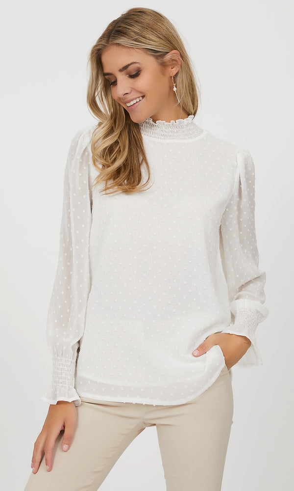 Swiss Dot Mock Neck Chiffon Blouse