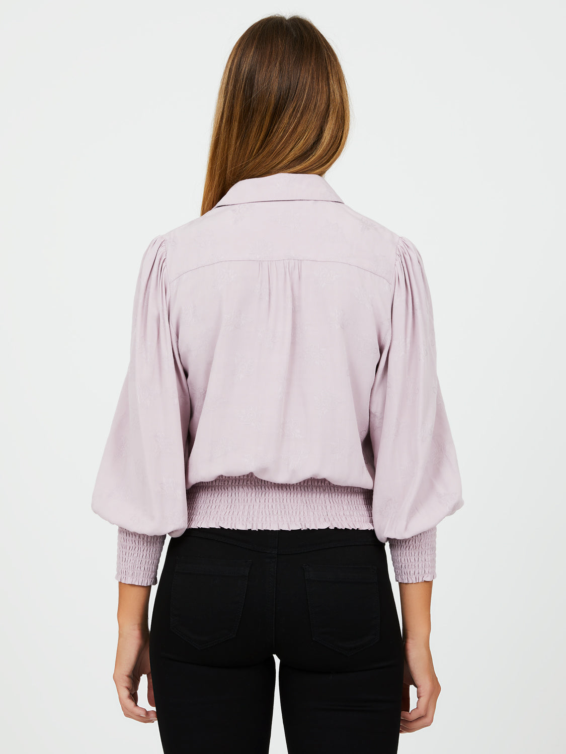 Shirt Collar ¾ Puff Sleeves Jacquard Blouse