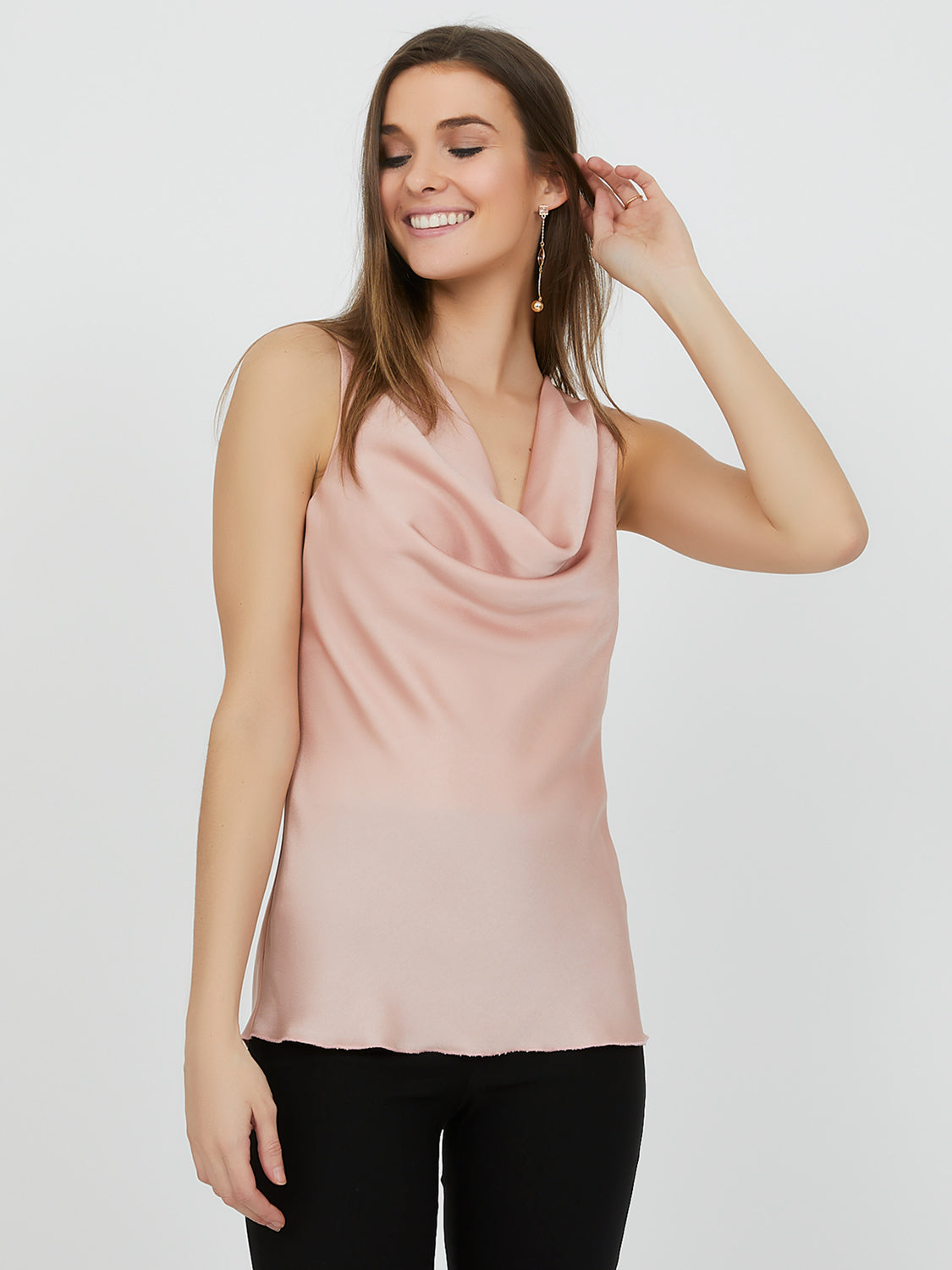 Sleeveless Satin Cowl Neck Top