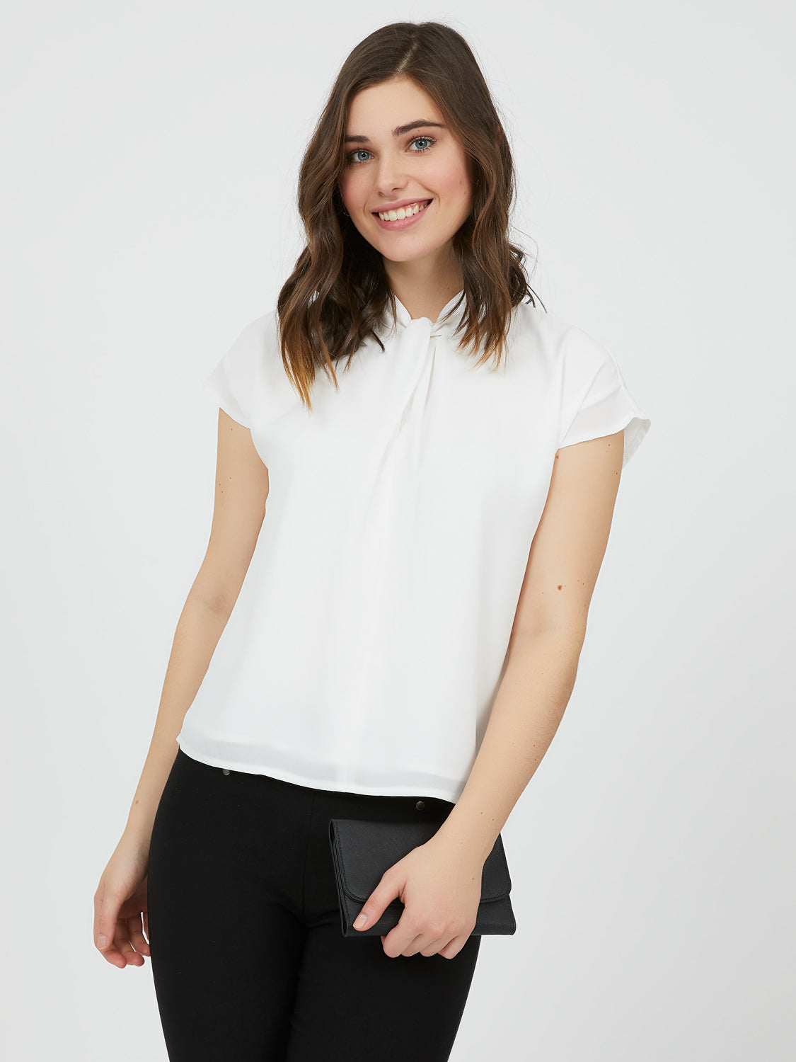 Twisted Front Chiffon Mock Neck Top