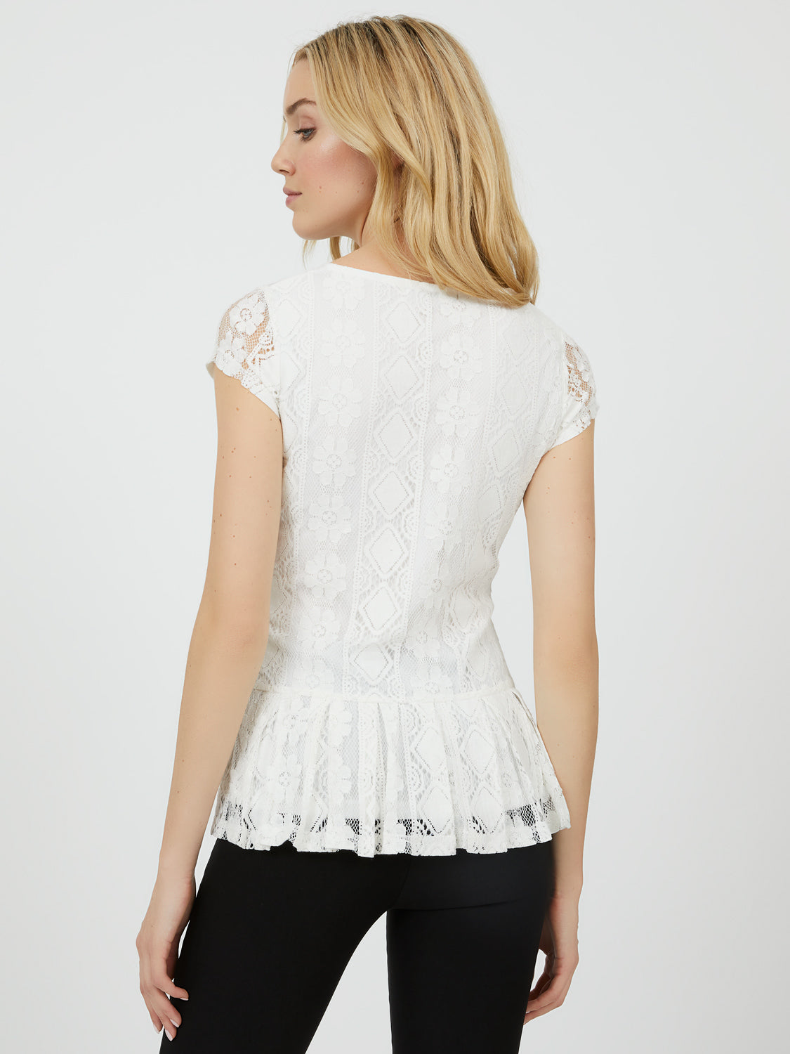 Cap Sleeve Peplum Lace Top