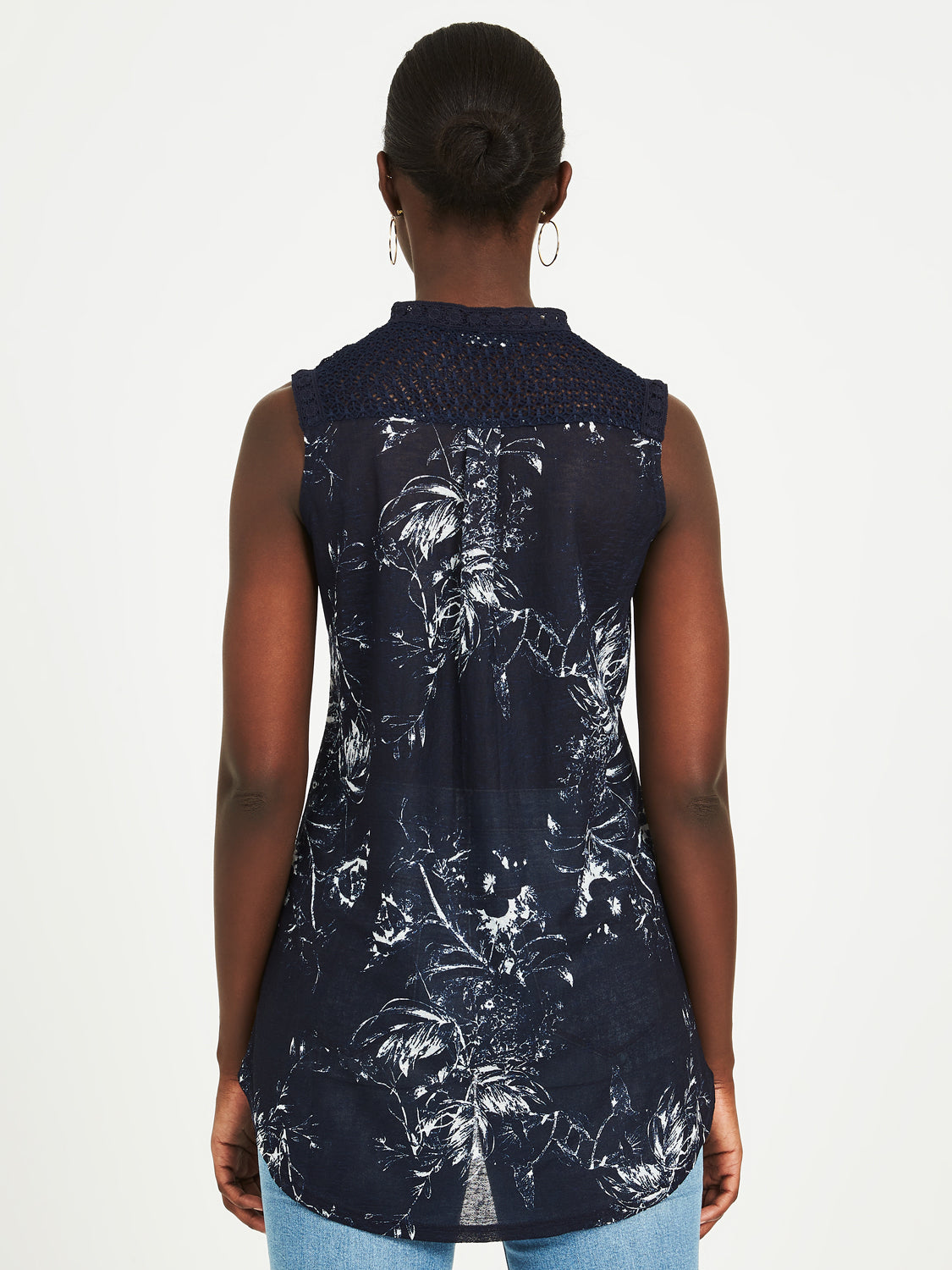 Printed Sleeveless Lace Top