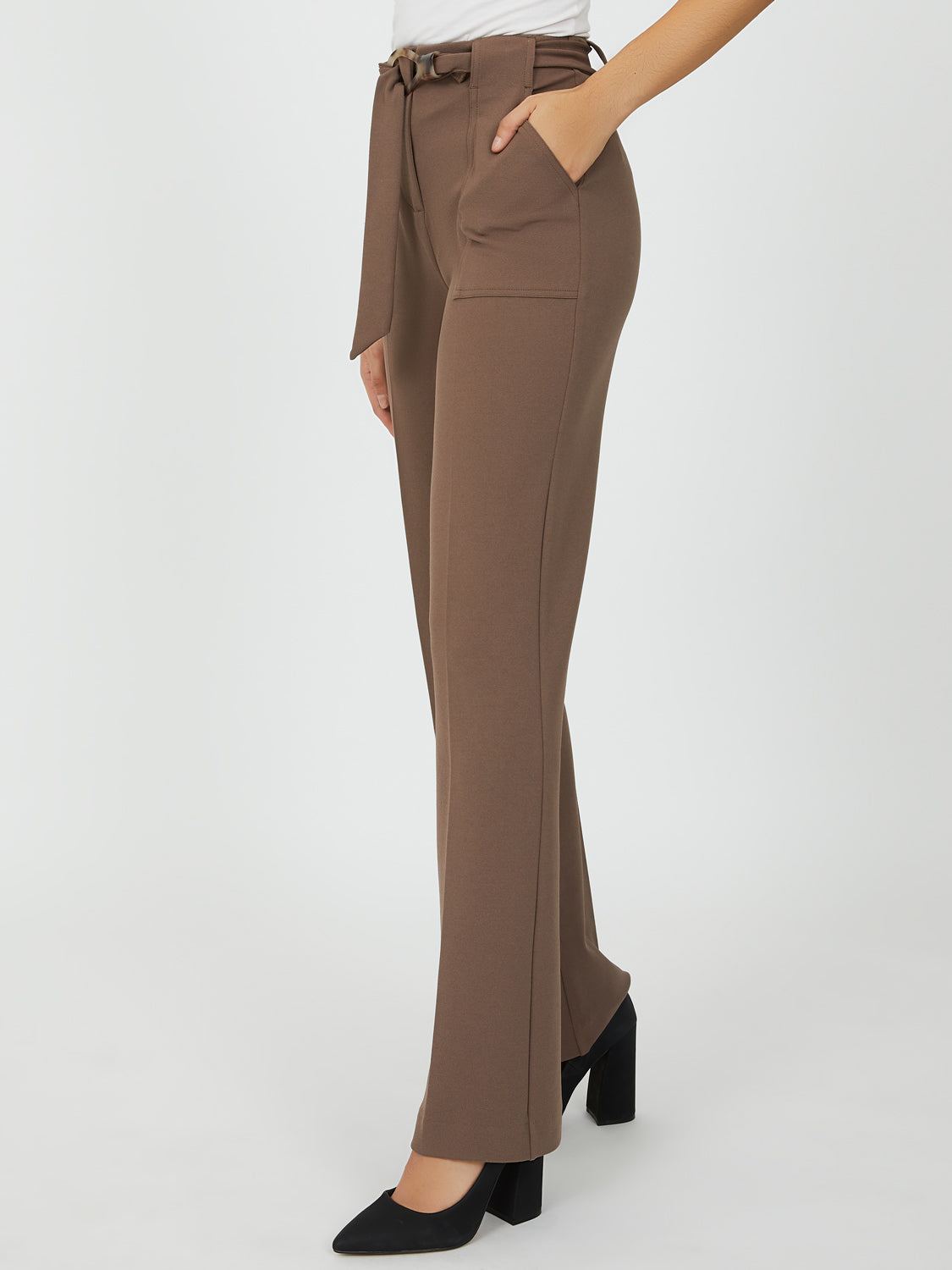 Belted High Waist Wide Leg pants