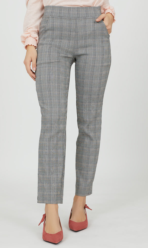 Pull-On Plaid Slim Leg Pant
