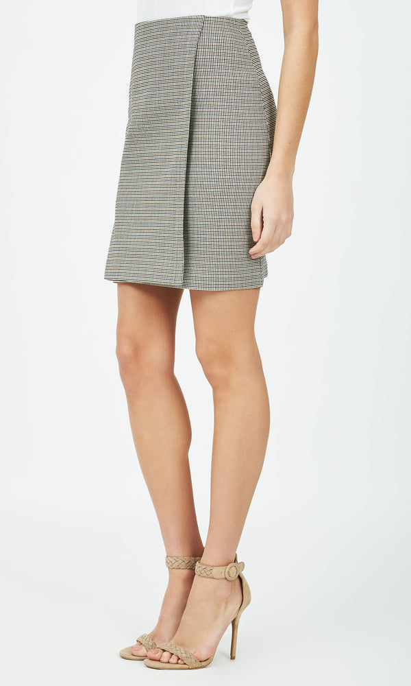 Faux Wrap Check Skirt