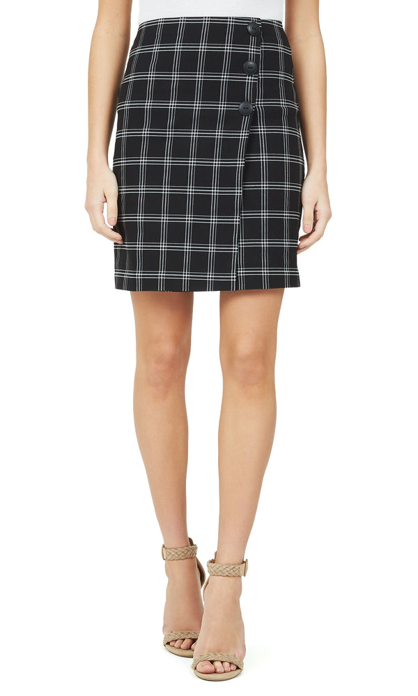 Faux Wrap Check Button Skirt