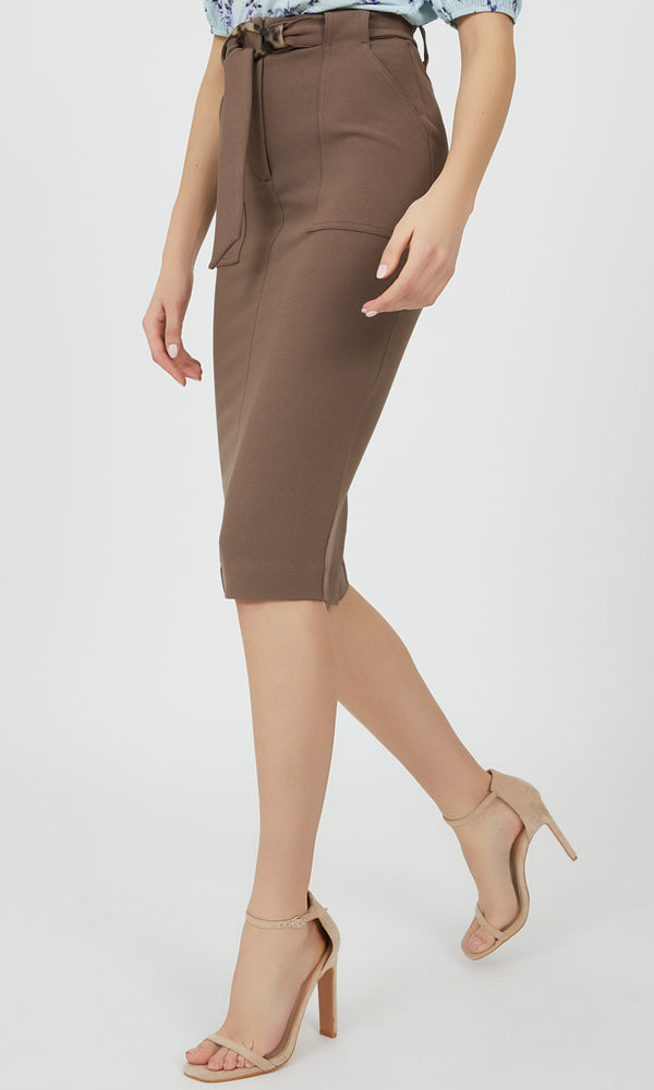 Belted High Waist Midi Pencil Skirt