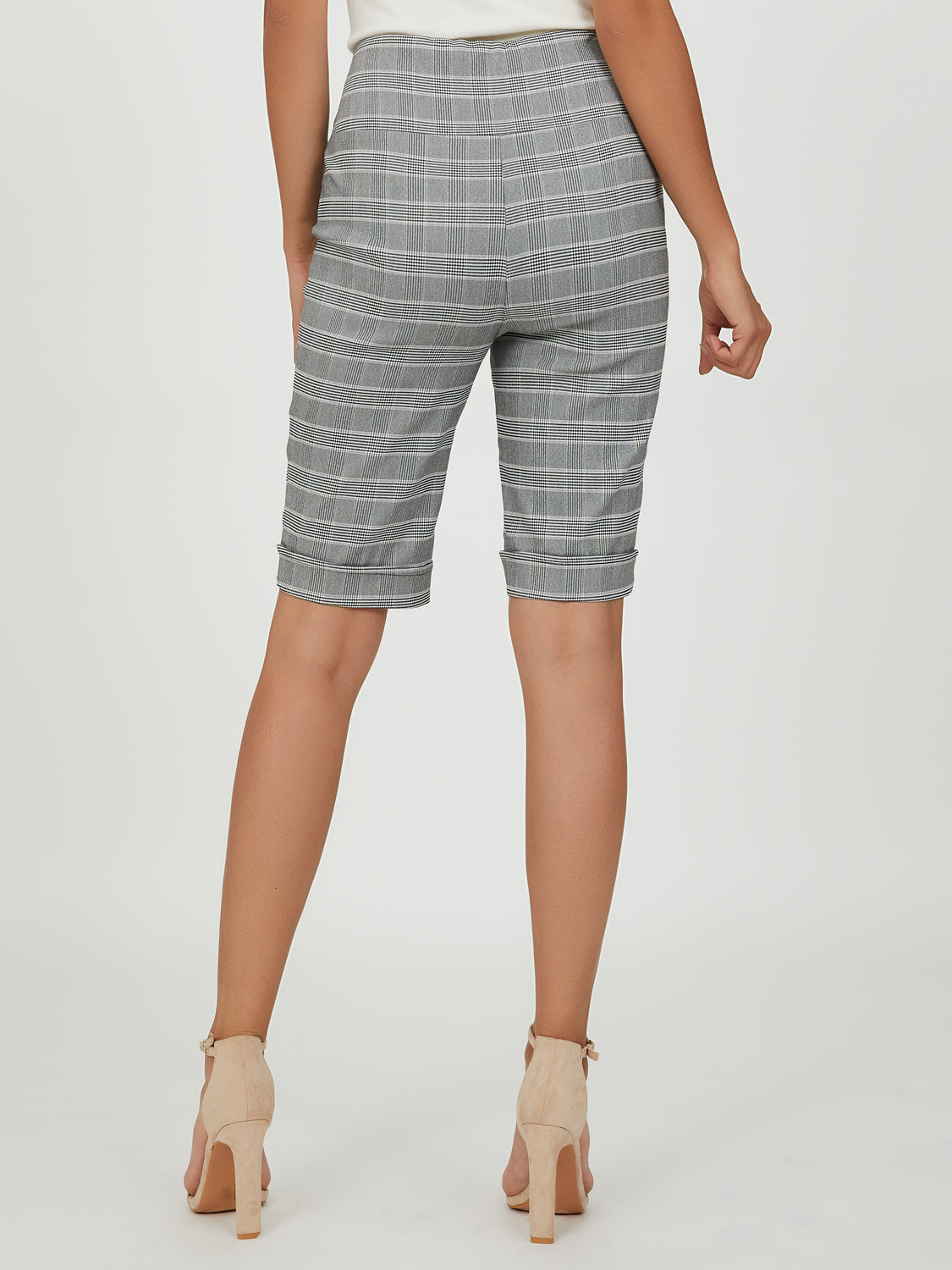Glen Plaid Cuffed Knee Length Bermuda Shorts