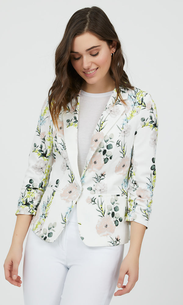 3/4 Sleeve Fitted Floral Blazer