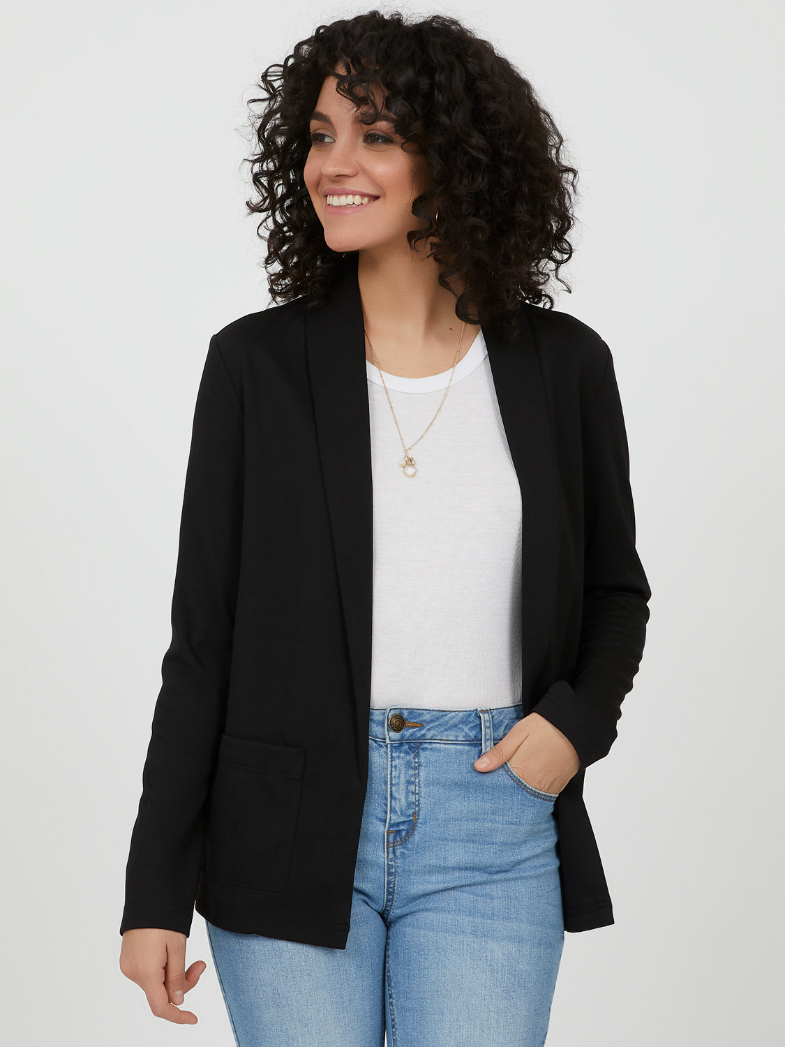 Open Front Shawl Collar Knit Blazer