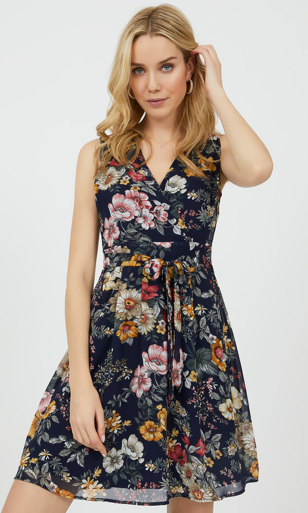 Sleeveless Pleated Floral Fit & Flare Dress