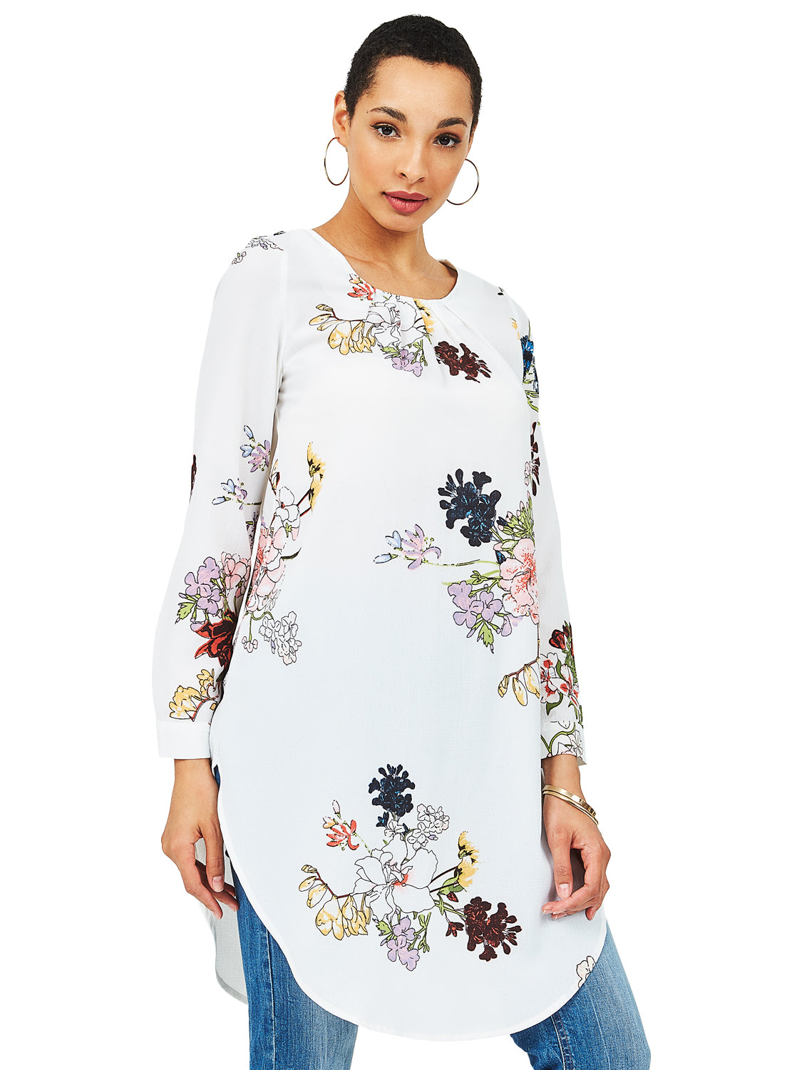 Pleated Floral Tunic