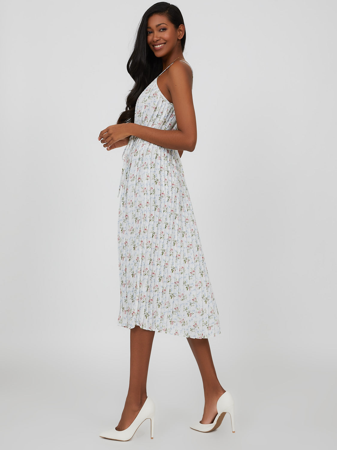 Spaghetti Strap Pleated Floral Chiffon Midi Dress