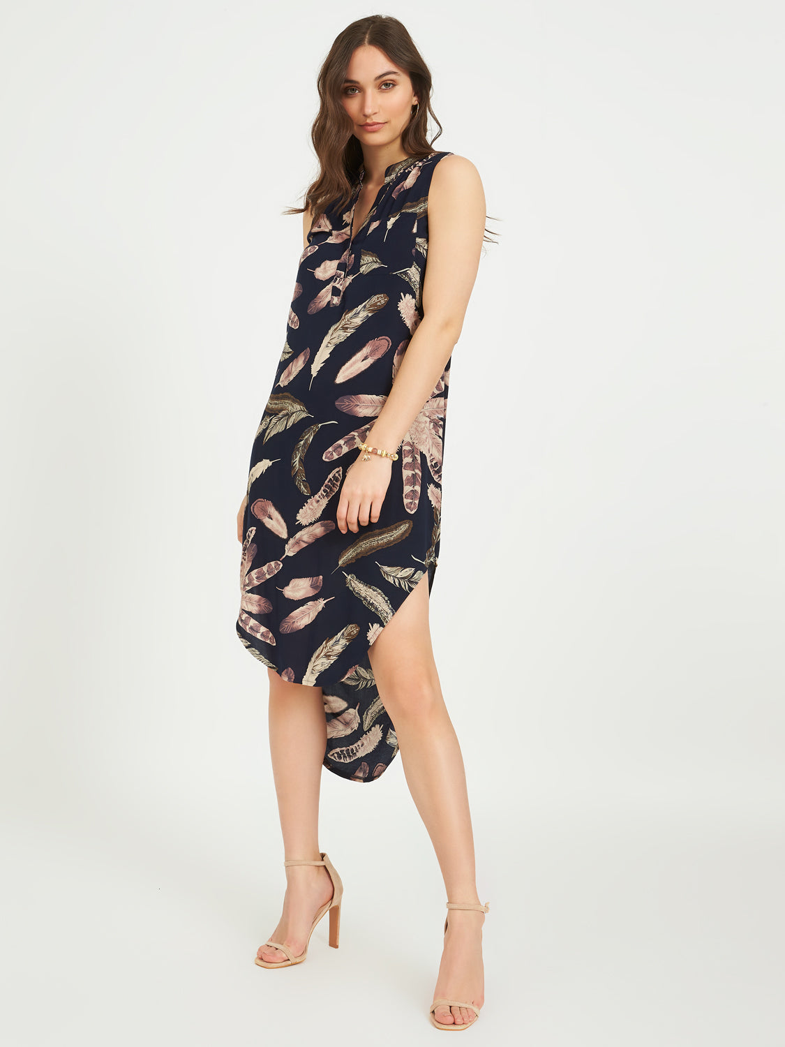 Printed High-Low Dress