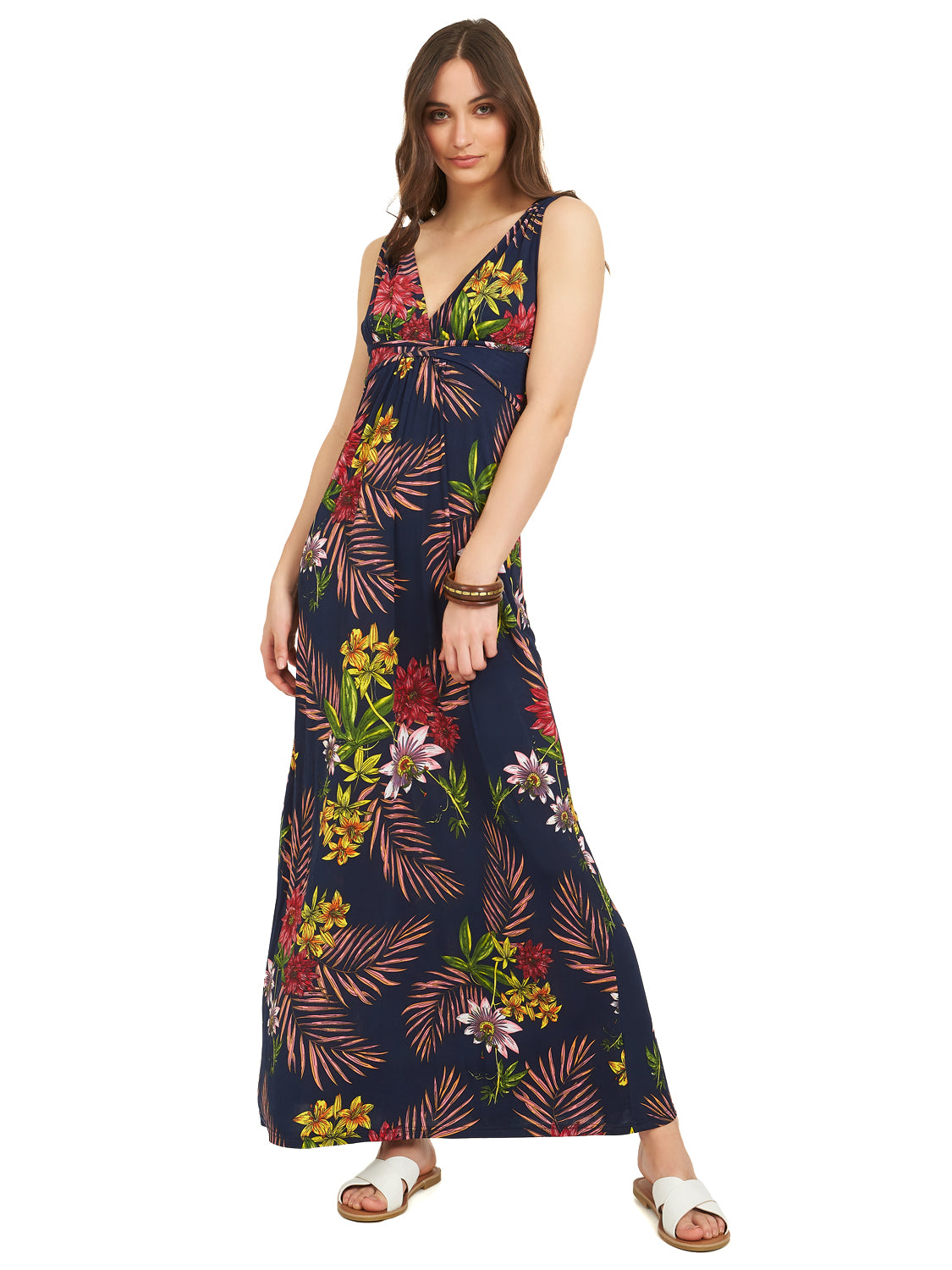 Printed Crossover Maxi Dress