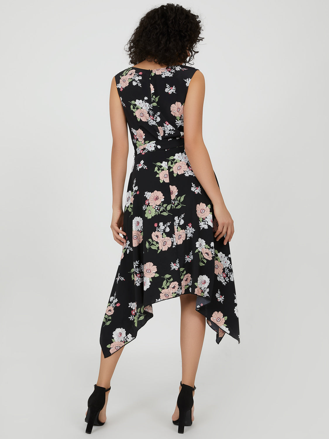 Sleeveless Silky Floral Midi Dress