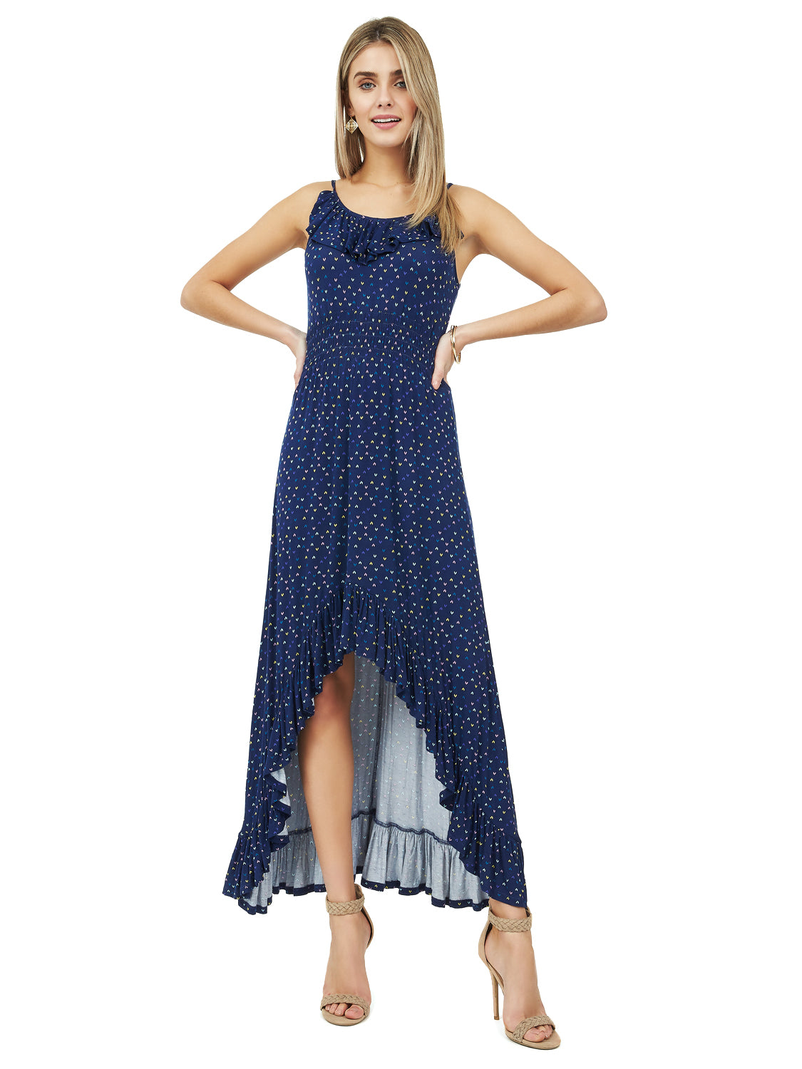 High-Low Ruffle Maxi Dress