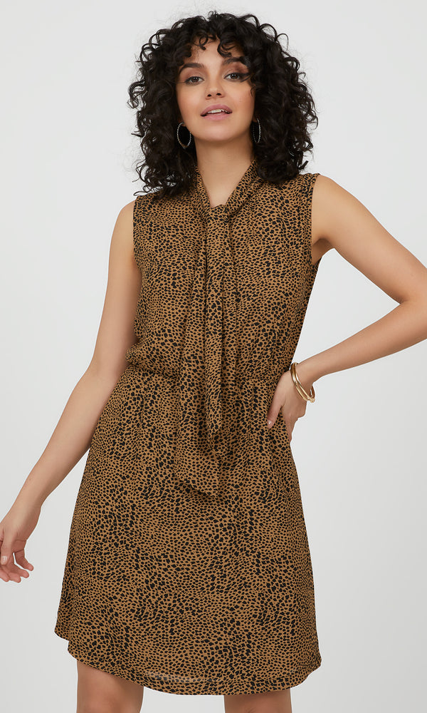 Sleeveless Animal Tie-Neck Mini Dress