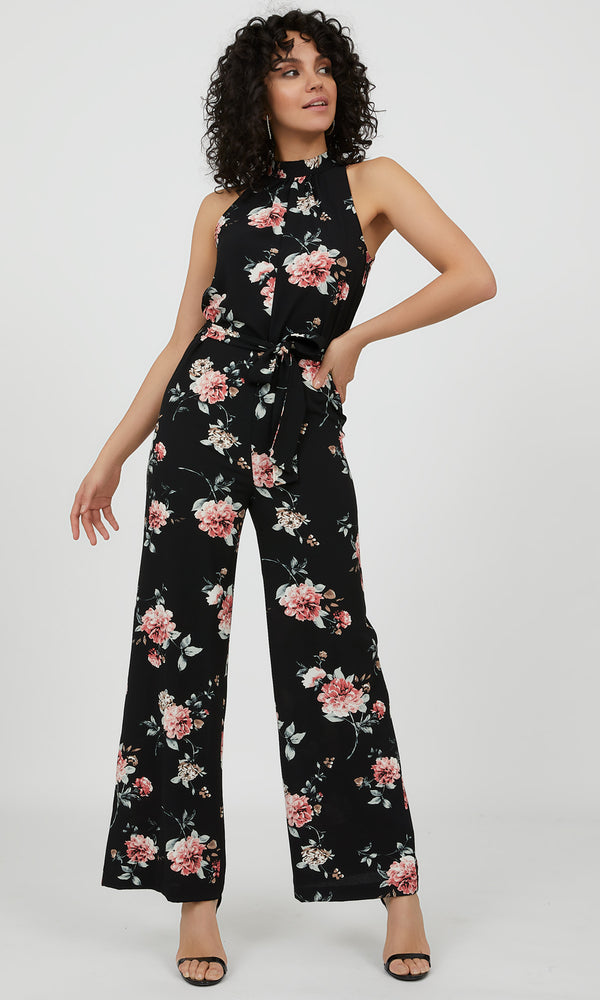 Sleeveless Floral Crepe Jumpsuit