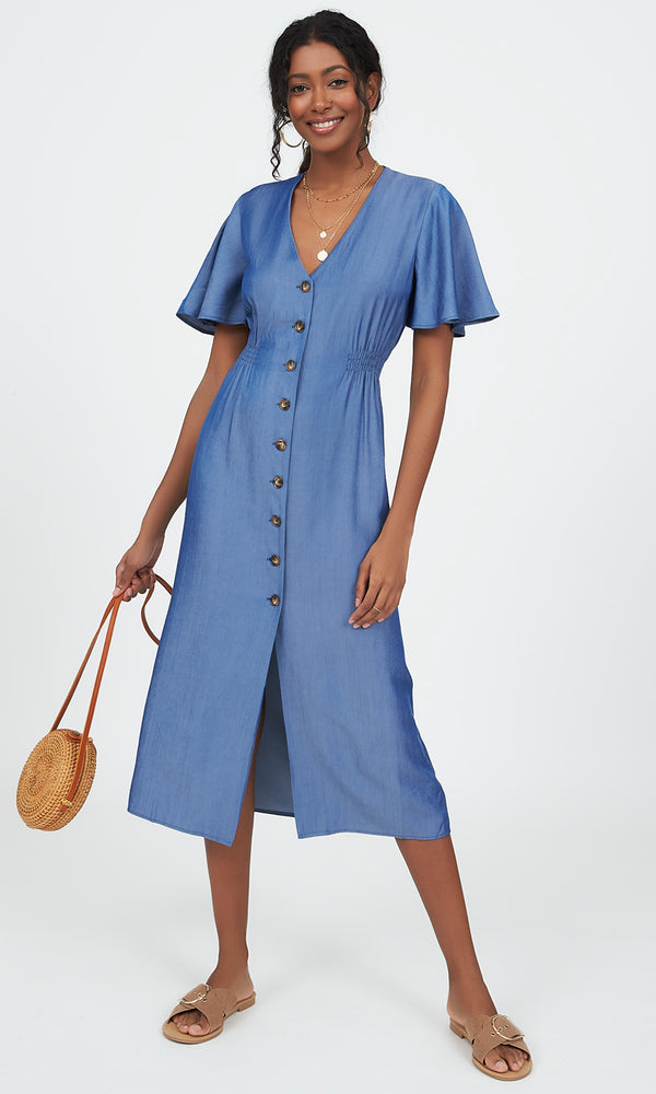 Flutter Sleeve Button-Down Midi Dress