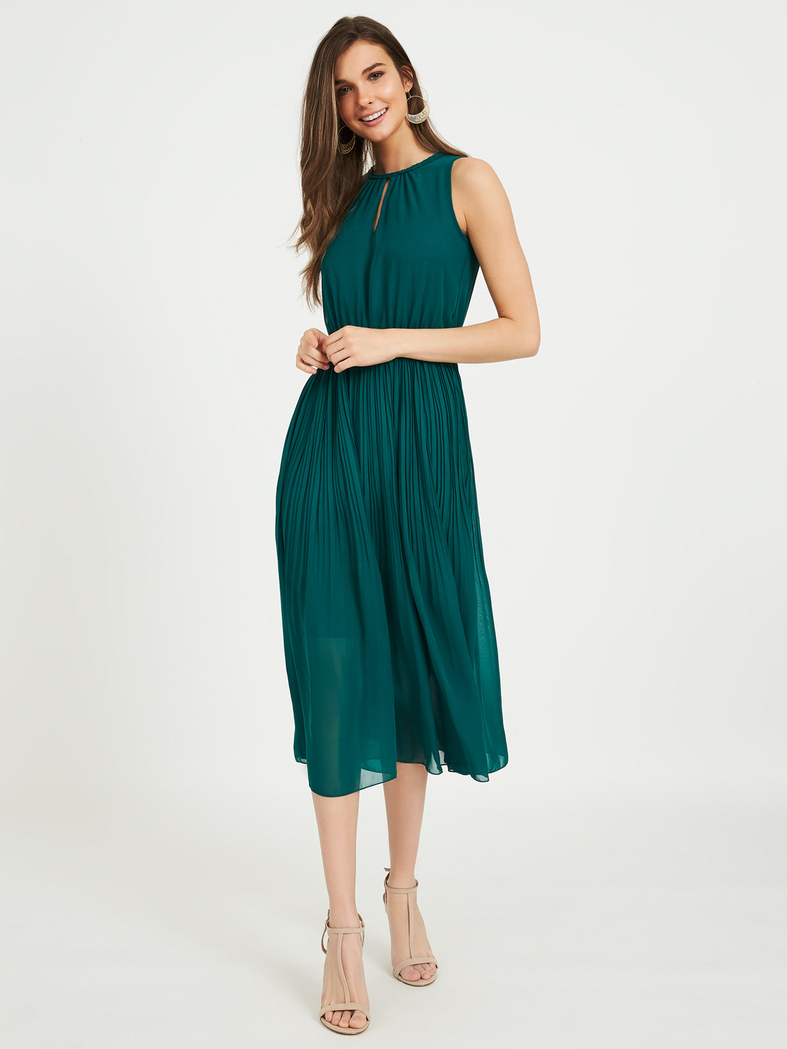 Sleeveless Chiffon Midi Dress