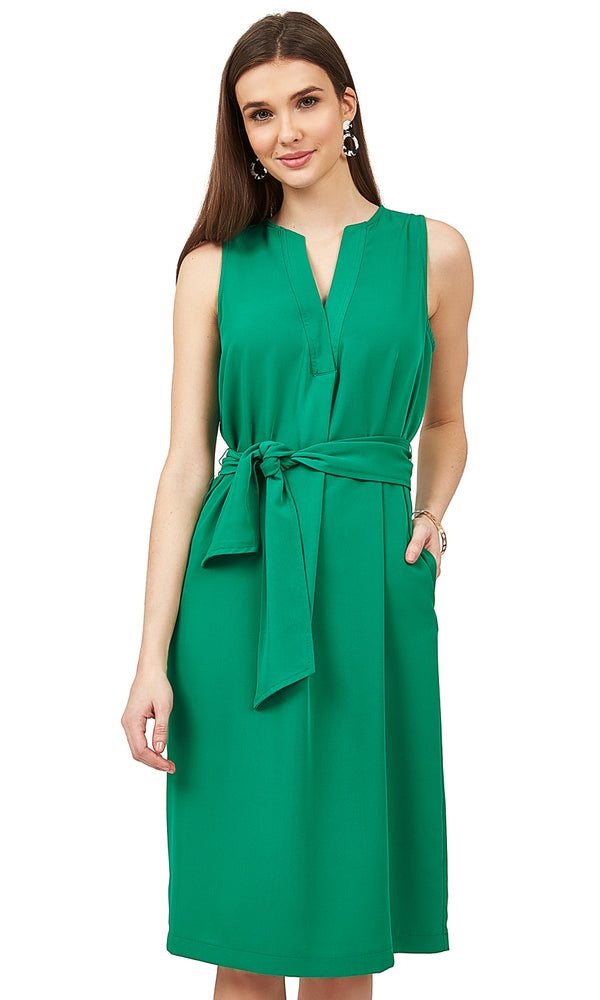Sleeveless Self-Tie Sash Dress
