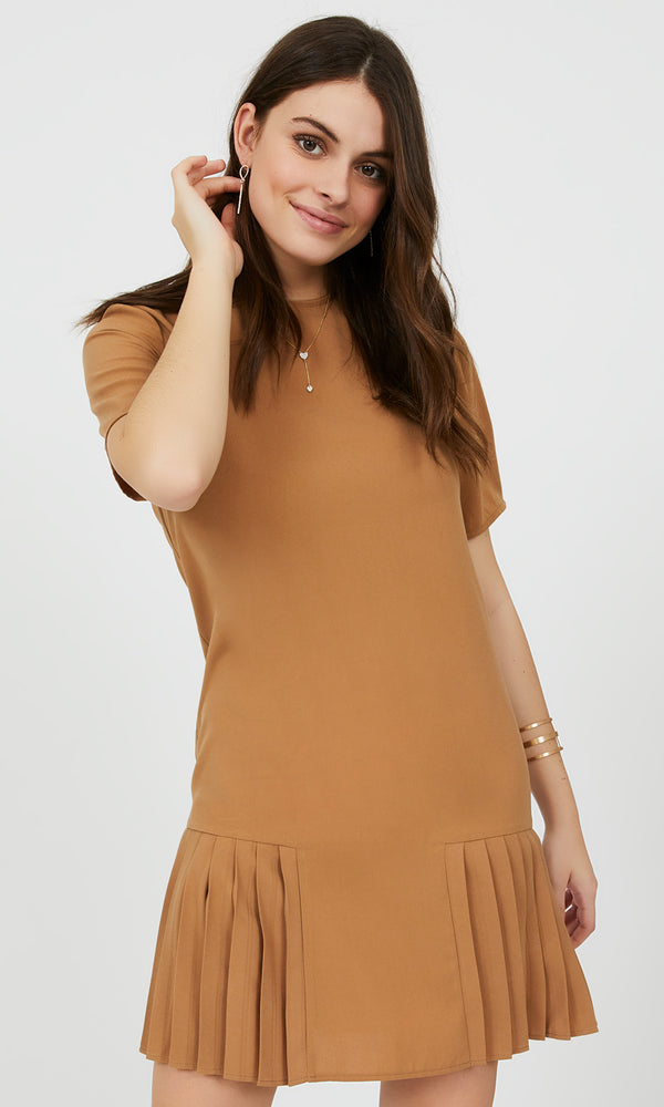 Pleated Crepe Shift Dress