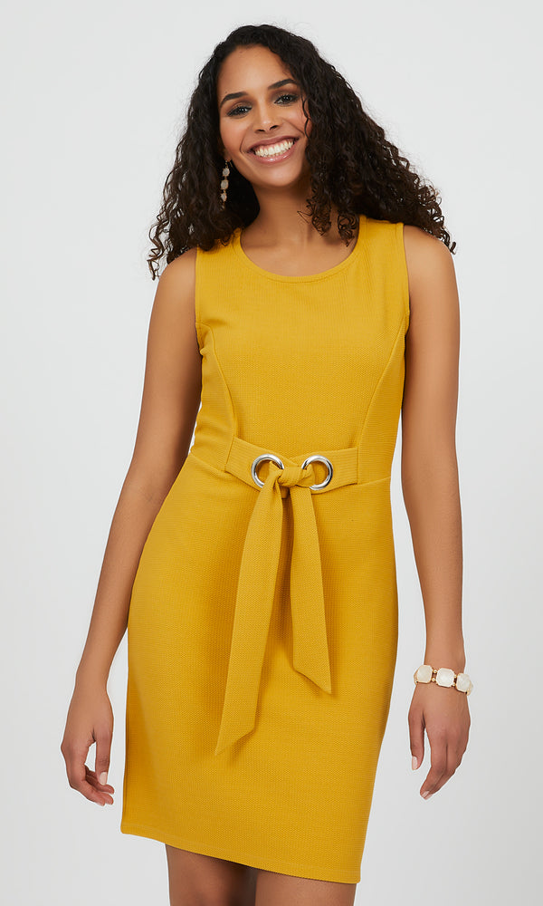 Sleeveless Textured Knit Sheath Mini Dress