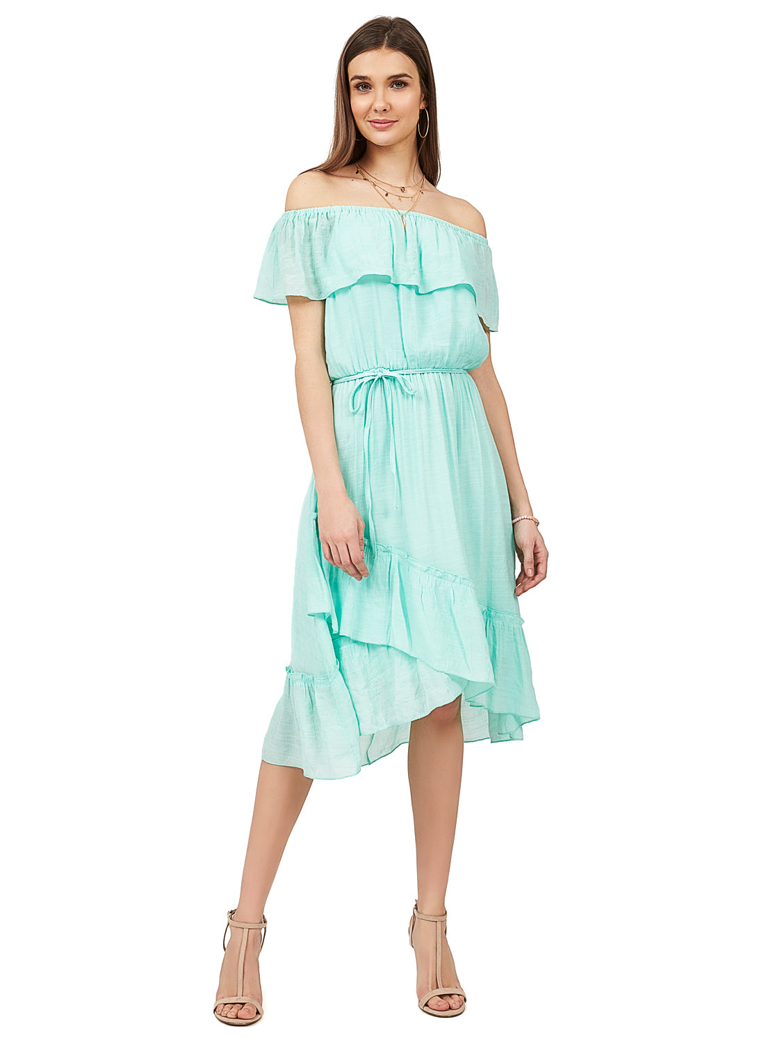 906427b7720 ... Off-The-Shoulder Ruffle Midi Dress