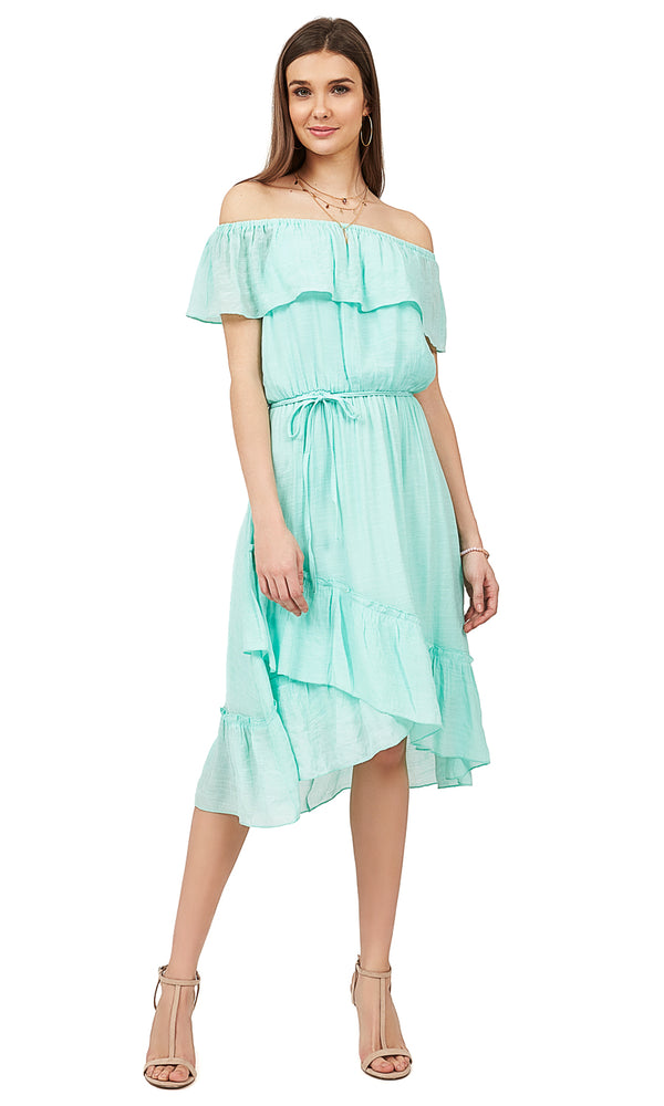 Off-The-Shoulder Ruffle Midi Dress