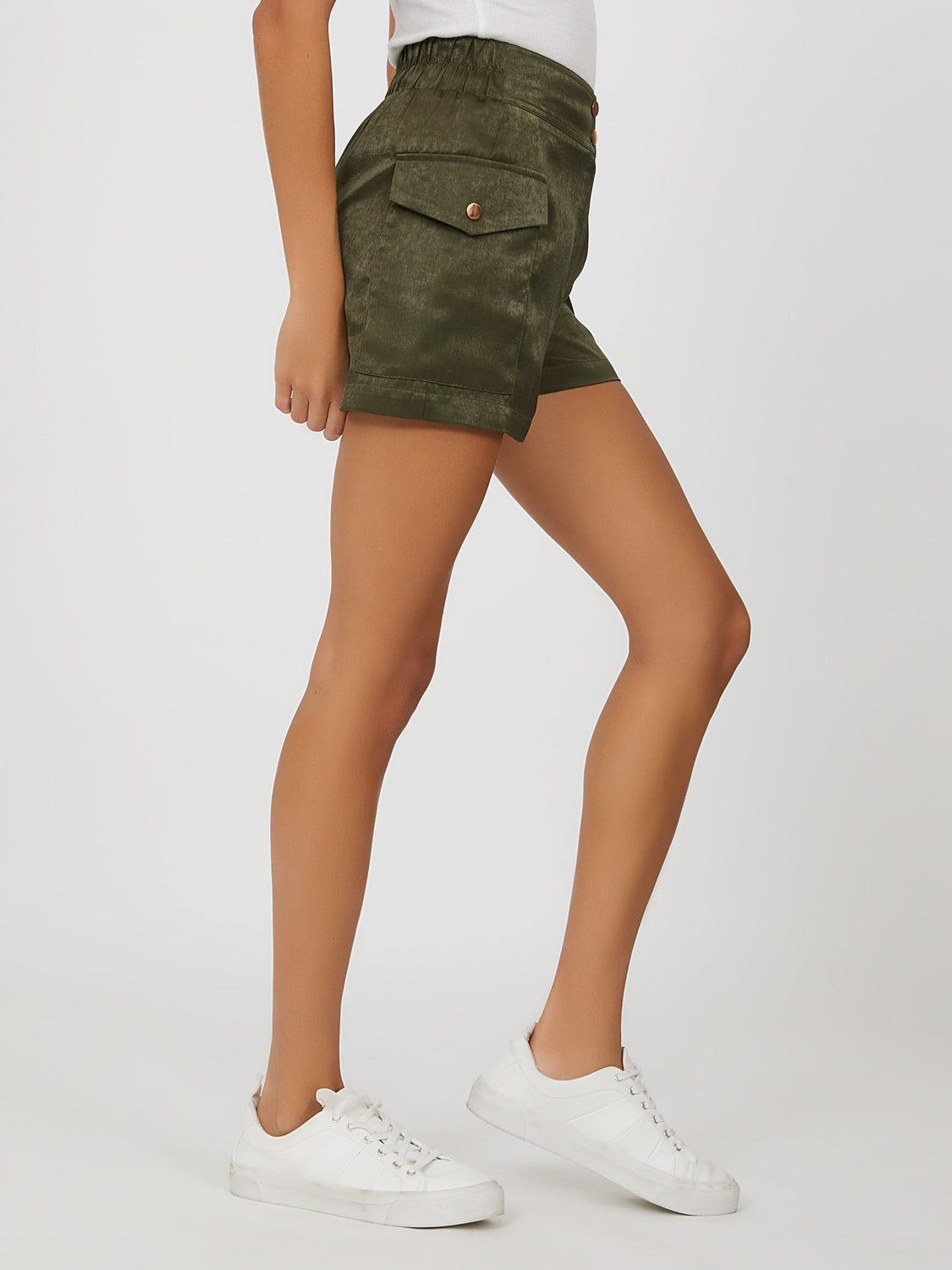 Cuffed Satin Cargo Shorts