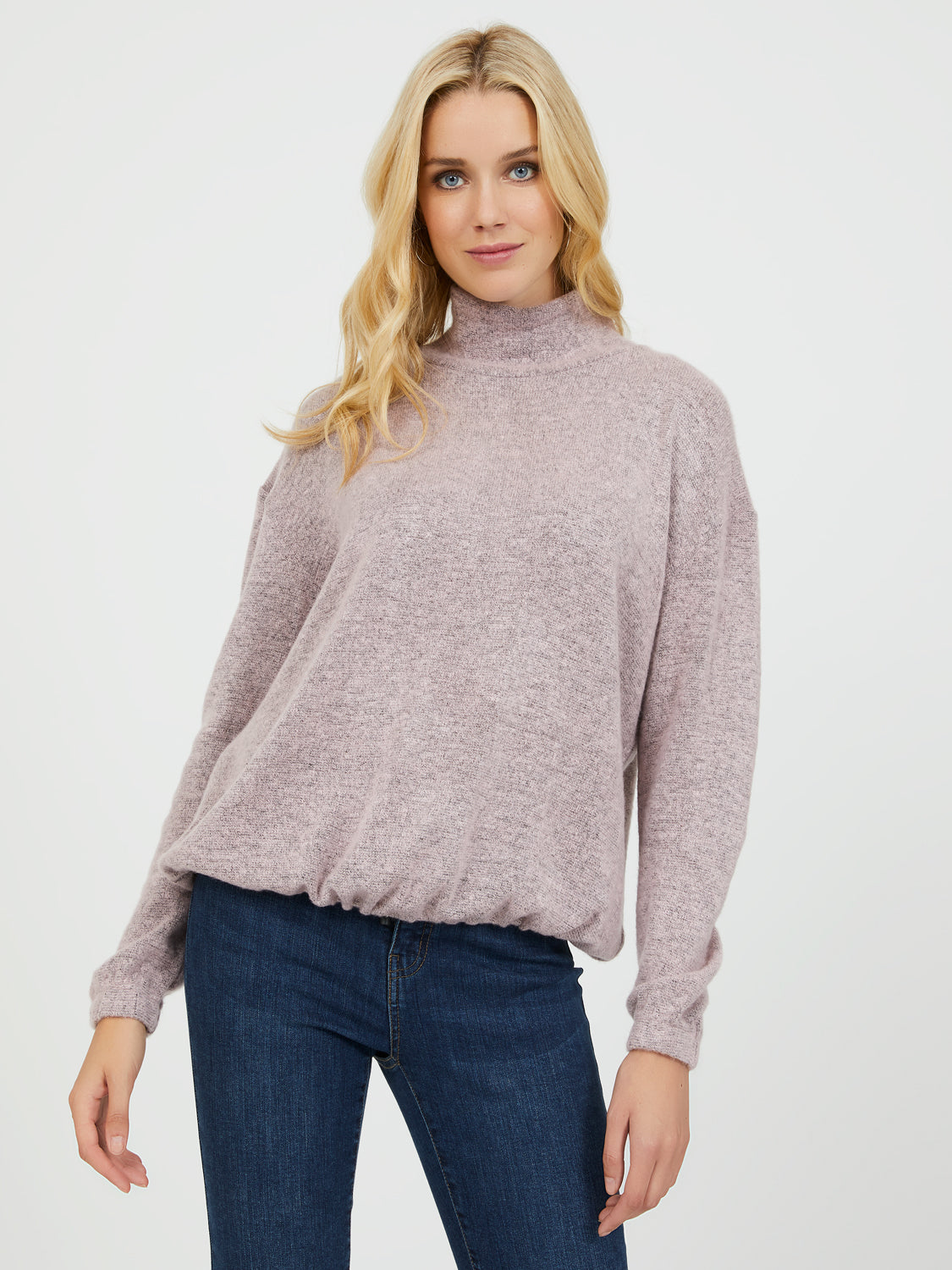 Brushed Mock Neck Sweater Knit Top