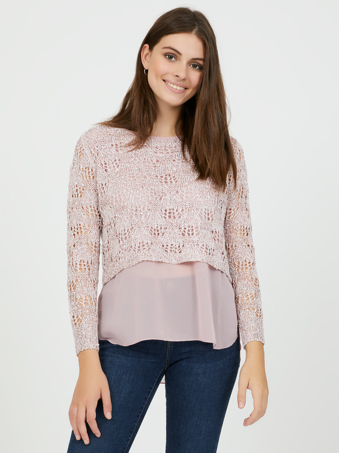 Scoop Neck Crochet & Chiffon Top