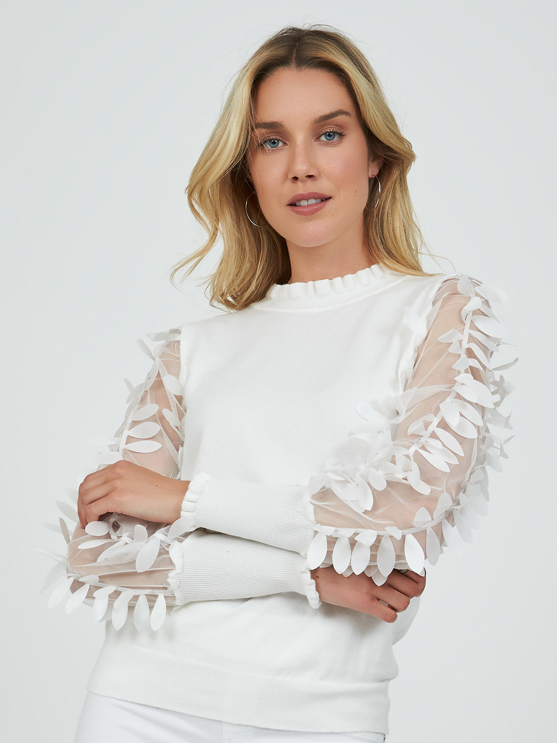 Petal Sheer Sleeve Sweater Knit Top