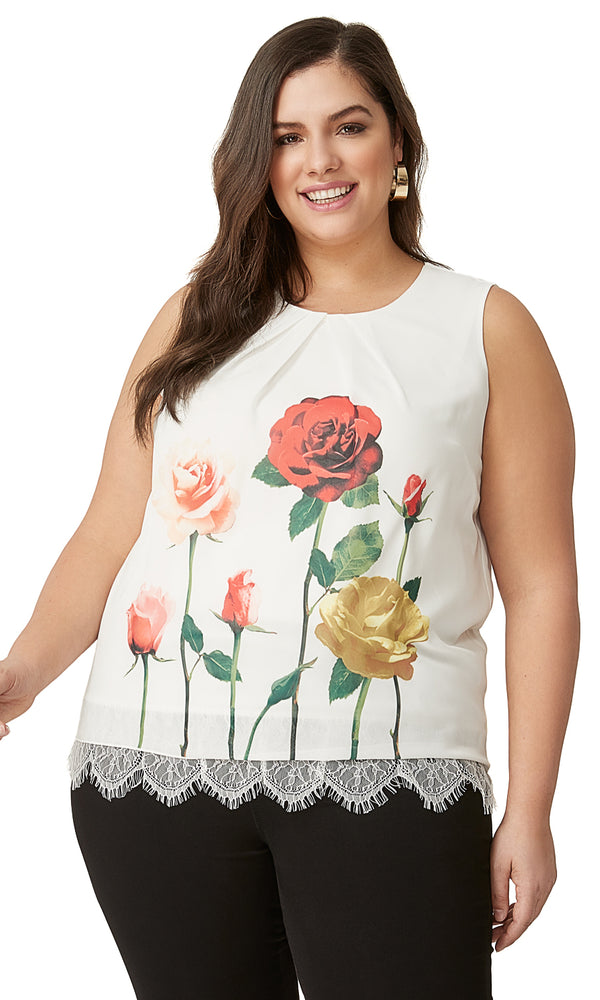 Plus Size Floral Pleated Sleeveless Top