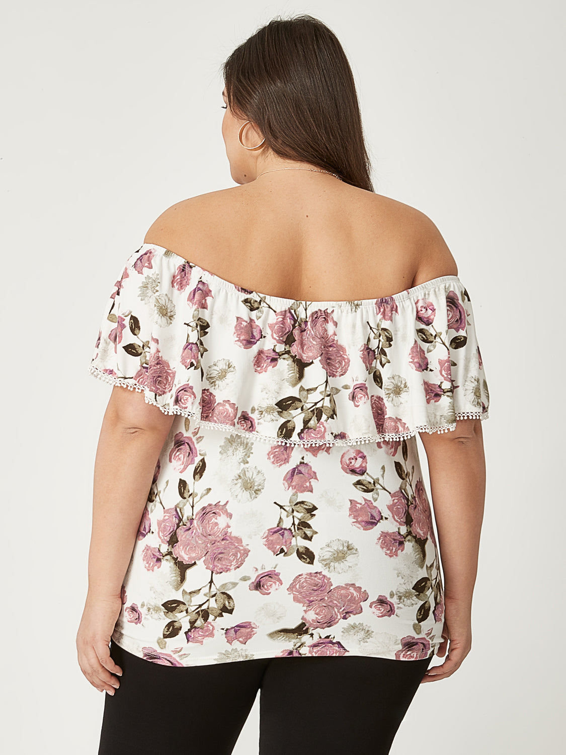 Plus Size Printed Off-The-Shoulder Top
