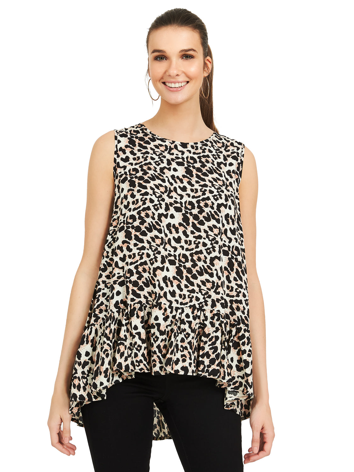 Animal Print Crew Neck Flounce Top