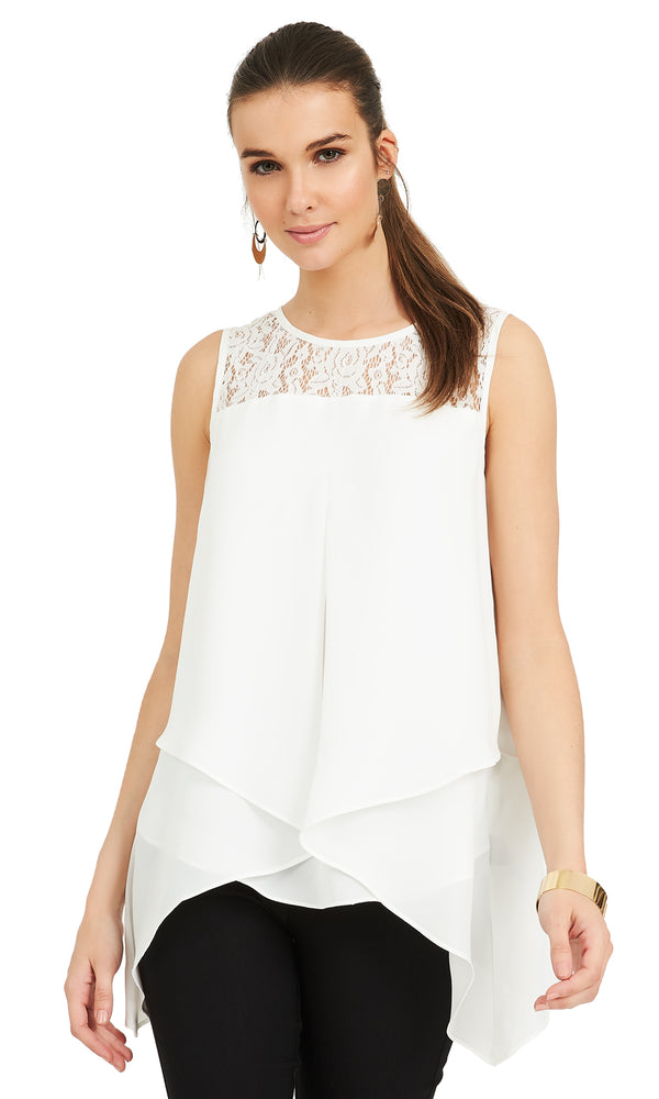 Sleeveless Lace Tank Top
