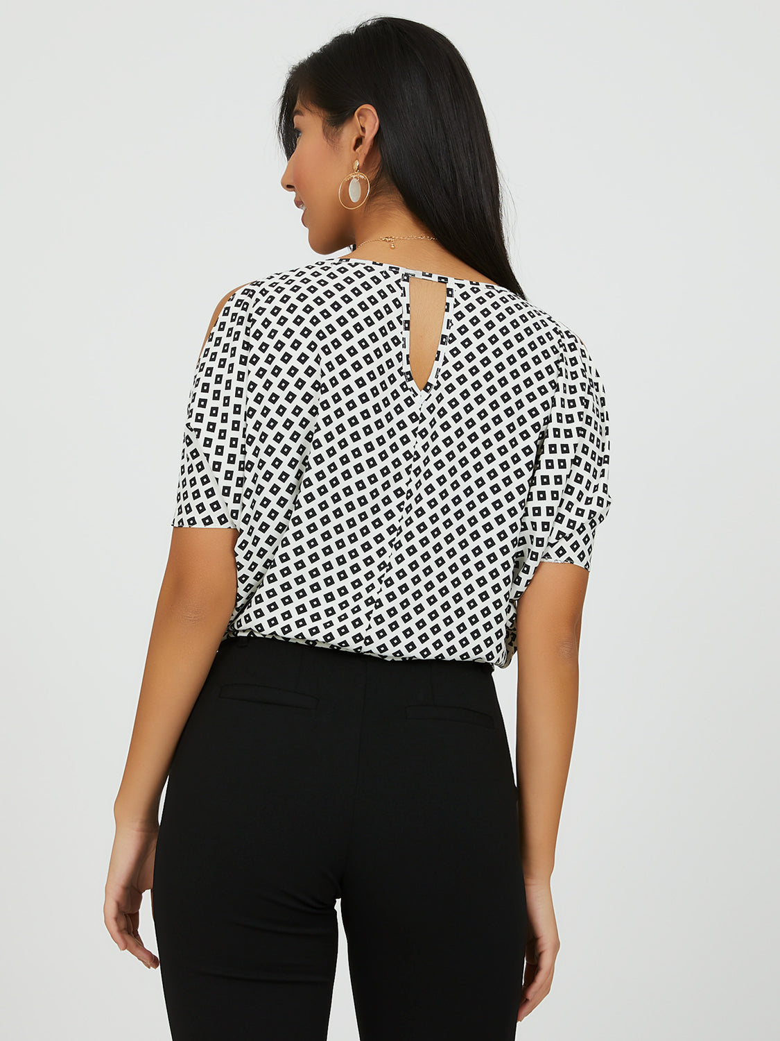Geometric Monochrome Print Chiffon Top