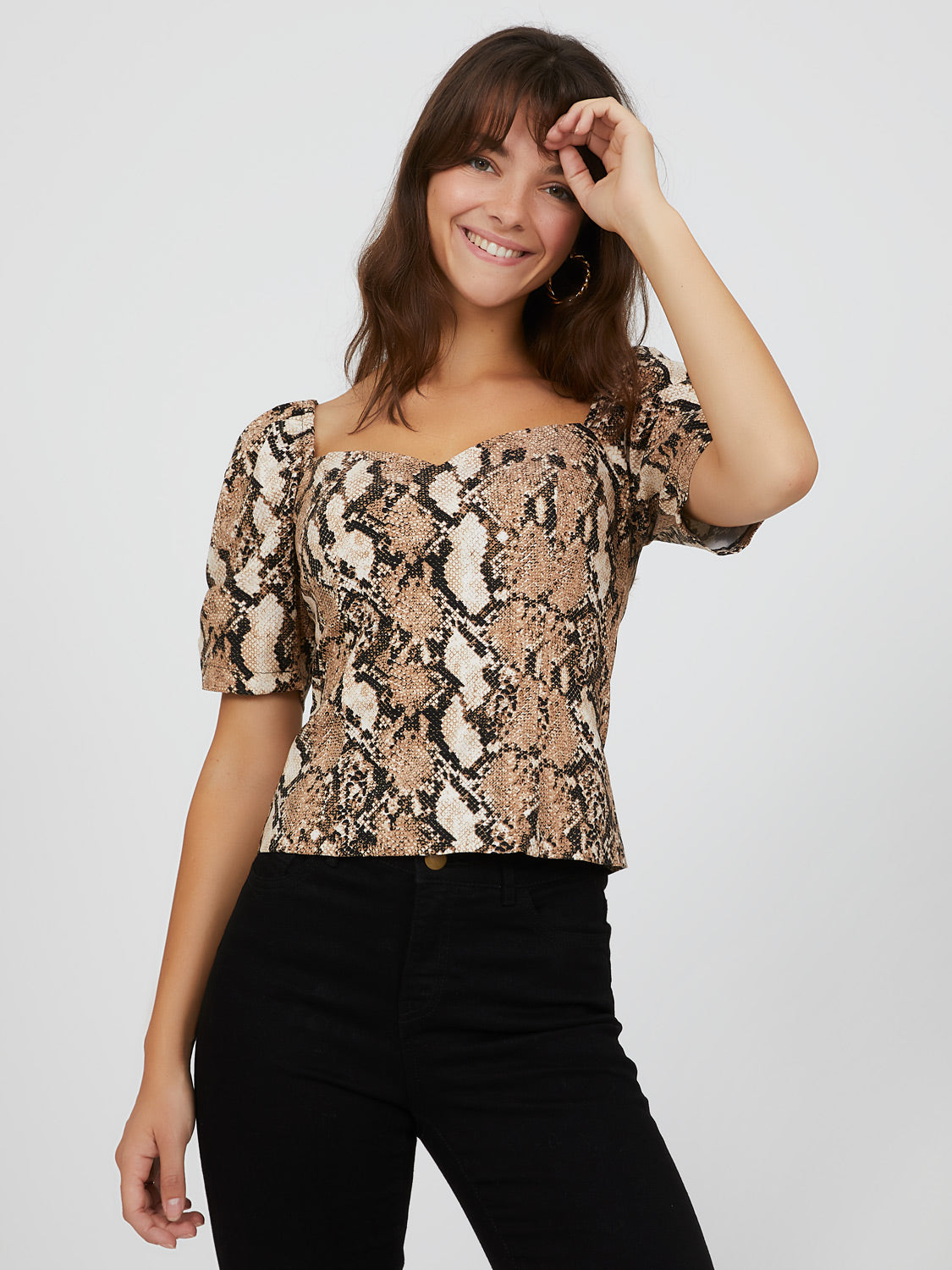 Balloon Sleeve Snake Print Top