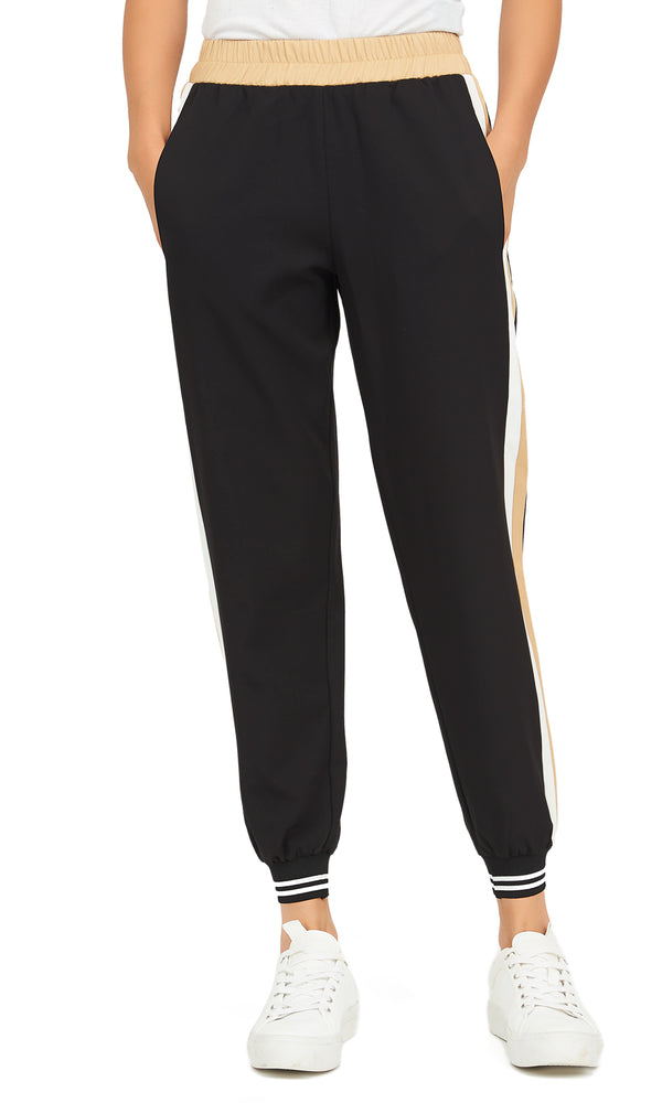 Crepe Athletic Joggers With Side Striped Band