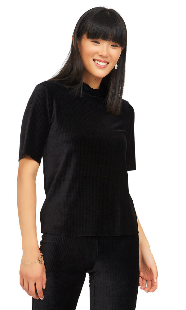 Velour Rib Mock Neck Top