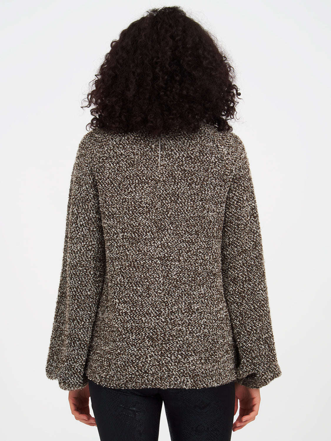 Boucle Knit Funnel Sweater Top