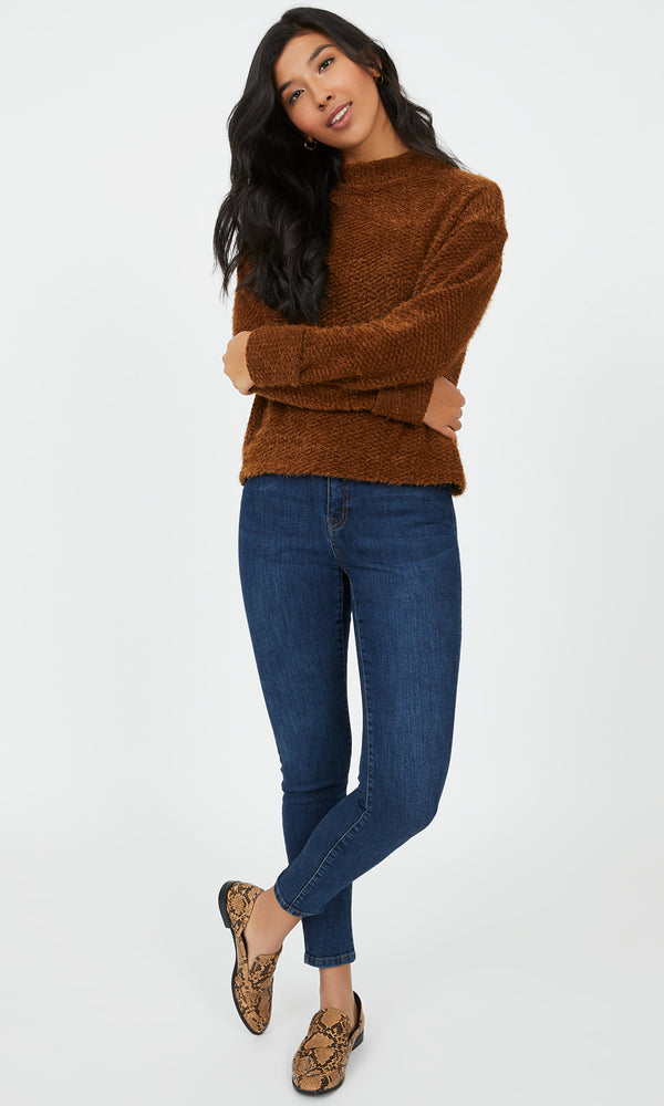 Shaggy Chenille Mock Neck Sweater Knit Top