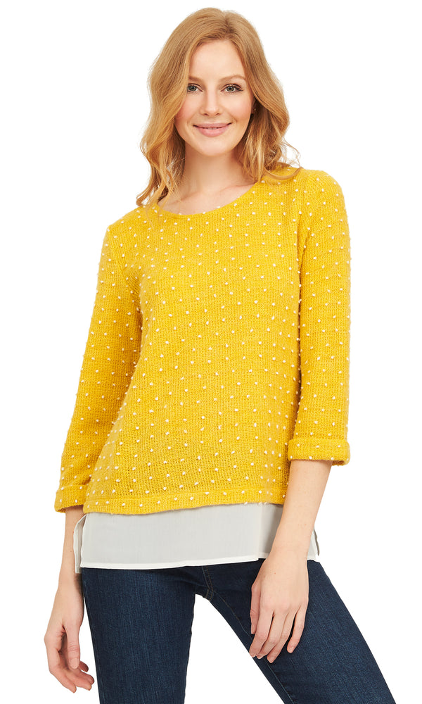 2fer Sweater Knit Top With Chiffon Layer